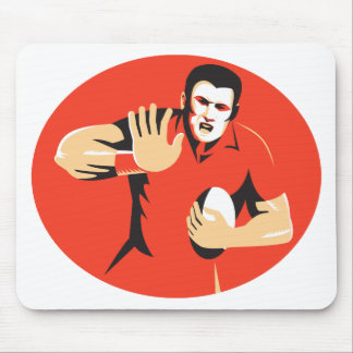 rugby player fending ball retro mouse pad