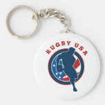 rugby player flag USA america Key Chain