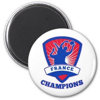 Rugby player France Champions shield 2 Inch Round Magnet