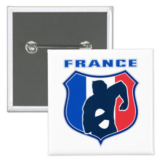 rugby player french france flag shield pinback button