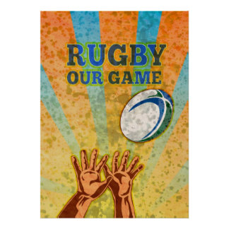 rugby player hands catching ball poster