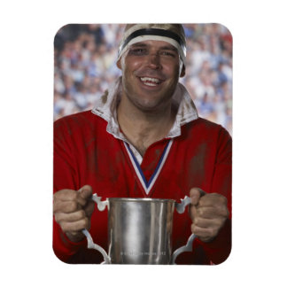 Rugby player holding trophy cup, portrait rectangular photo magnet