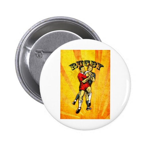 rugby player jumping catching ball button