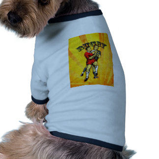 rugby player jumping catching ball dog clothes
