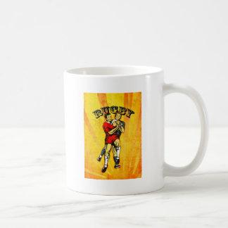 rugby player jumping catching ball coffee mug