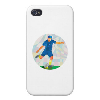 Rugby Player Kicking Ball Circle Low Polygon iPhone 4 Cases