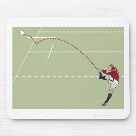 Rugby player kicking ball into touch, dotted mouse pad