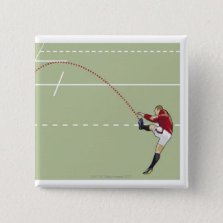 Rugby player kicking ball into touch, dotted pinback button