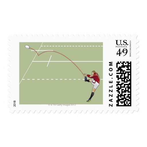 Rugby player kicking ball into touch, dotted postage