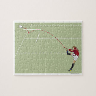Rugby player kicking ball into touch, dotted puzzle