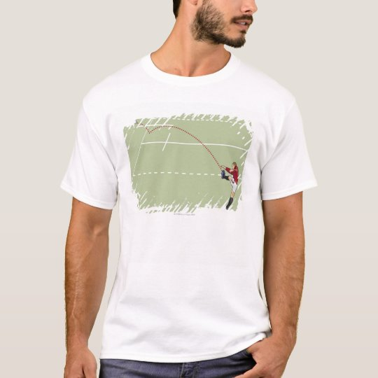 Rugby player kicking ball into touch, dotted T-Shirt