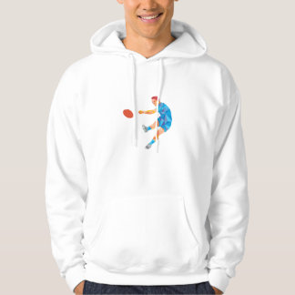 Rugby Player Kicking Ball Low Polygon Hoodie