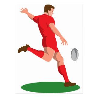 rugby player kicking ball retro postcard