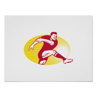 Rugby Player Kicking Ball Retro Poster