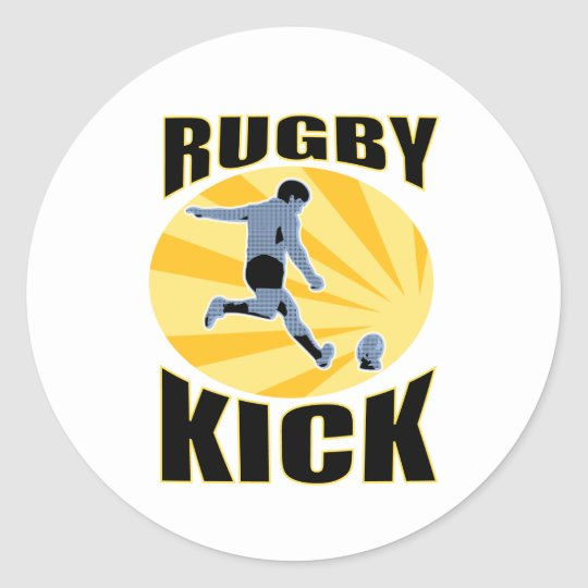 rugby player kicking ball retro style classic round sticker