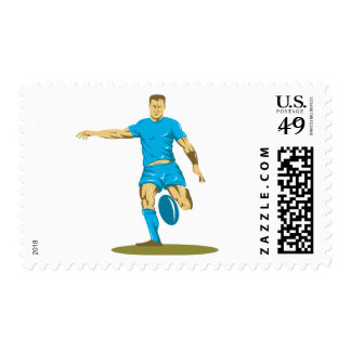 Rugby Player Kicking Postage
