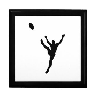 Rugby Player Kicking Silhouette Trinket Boxes