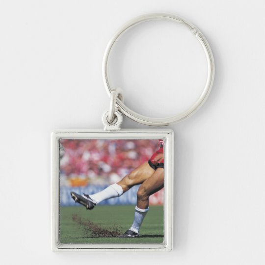 Rugby Player Kicking the Ball Keychain