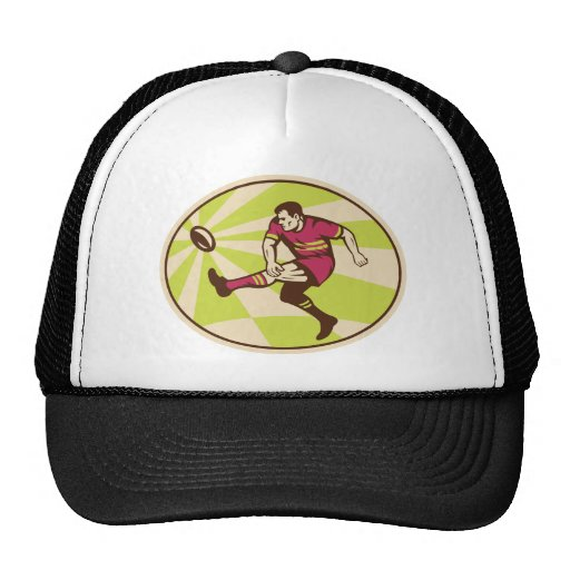 Rugby player kicking the ball retro trucker hat