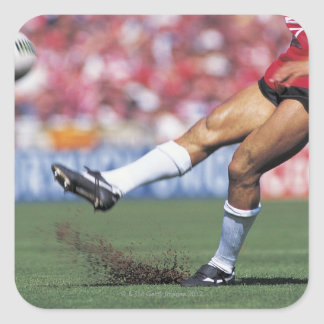 Rugby Player Kicking the Ball Square Sticker