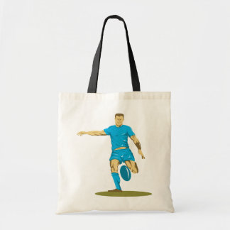 Rugby Player Kicking Tote Bag