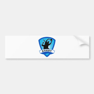 rugby player lineout line-out catch silhouette bumper sticker