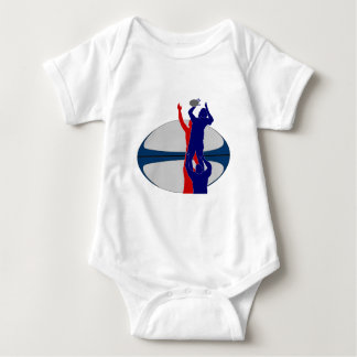 Rugby player lineout throw ball france baby bodysuit