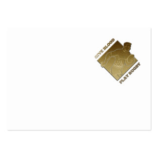 rugby player metallic gold give blood, play rugby business cards