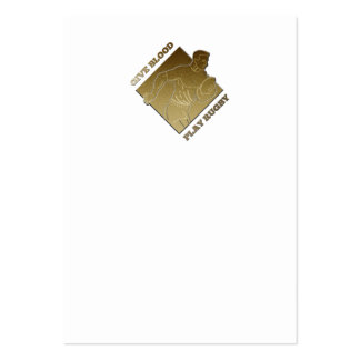 rugby player metallic gold give blood, play rugby business card template