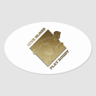 rugby player metallic gold give blood play rugby sticker