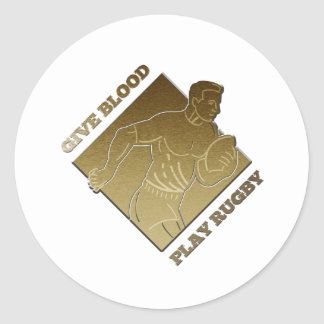 rugby player metallic gold give blood play rugby stickers