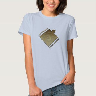 rugby player metallic gold give blood, play rugby t-shirt