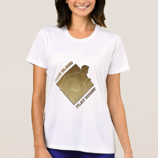 rugby player metallic gold give blood, play rugby tshirts