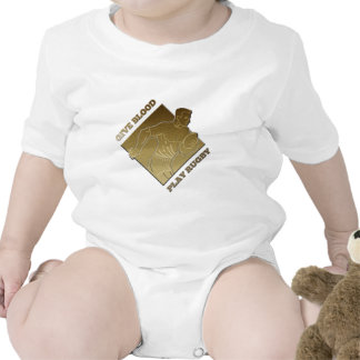 rugby player metallic gold give blood, play rugby romper