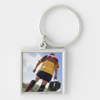 Rugby player on the sideline with refreshments Silver-Colored square keychain
