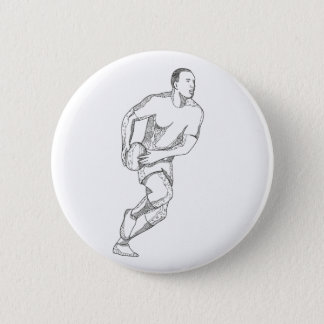 Rugby Player Passing Ball Doodle Art Button