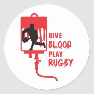 Rugby player passing ball front blood round stickers
