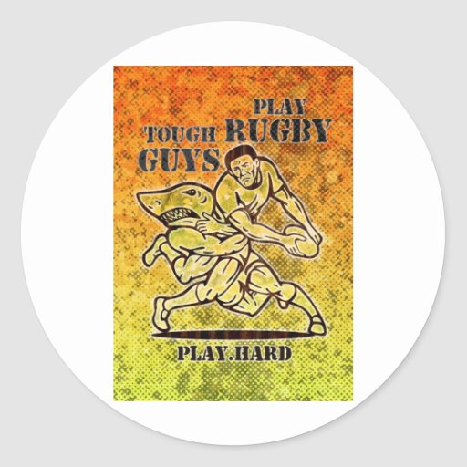 rugby player passing ball tackled by shark classic round sticker