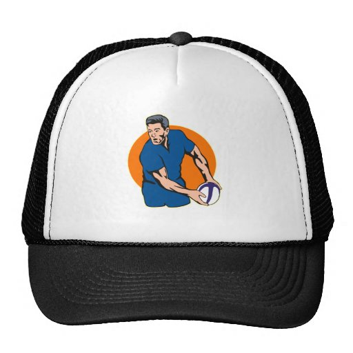 rugby player passing ball trucker hat