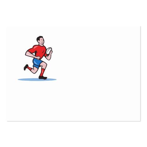 Rugby Player Running Ball Cartoon Business Card Templates