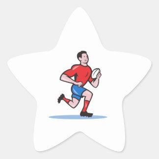 Rugby Player Running Ball Cartoon Star Sticker