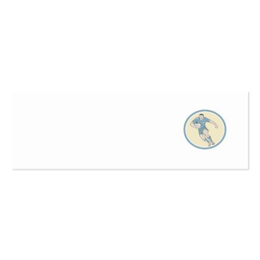 Rugby Player Running Ball Circle Cartoon Business Card Template