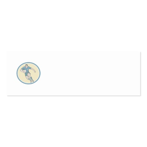 Rugby Player Running Ball Circle Cartoon Business Cards