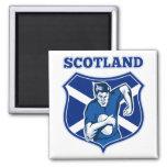 rugby player running ball scotland flag shield refrigerator magnet