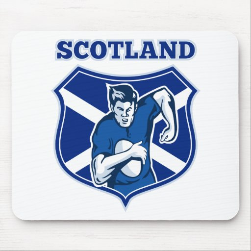 rugby player running ball scotland flag shield mousepad