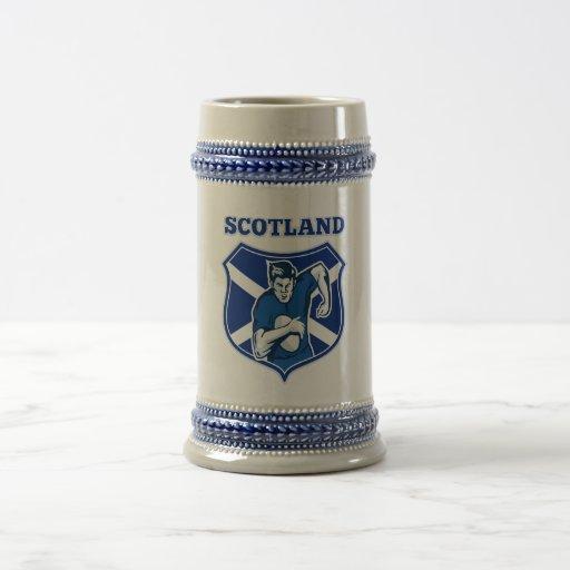 rugby player running ball scotland flag shield coffee mug