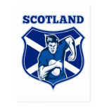 rugby player running ball scotland flag shield post card