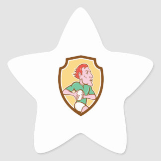 Rugby Player Running Ball Shield Cartoon Star Sticker