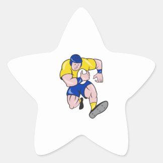 Rugby Player Running Charging Cartoon Star Sticker