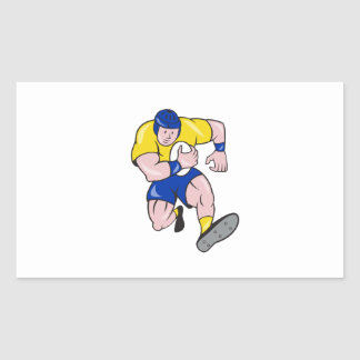 Rugby Player Running Charging Cartoon Rectangular Stickers
